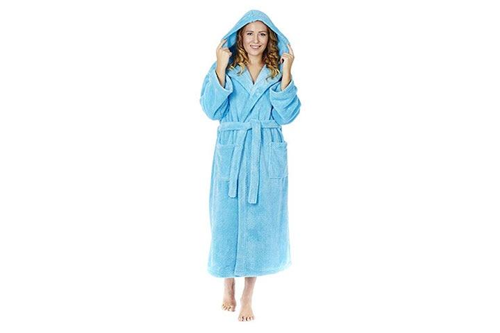 Arus Women's Hooded Fleece Bathrobe