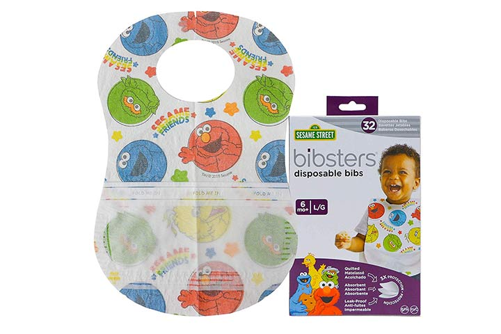 Bibsters Sesame Street Large Disposable Bibs with Patented Crumb-Catcher