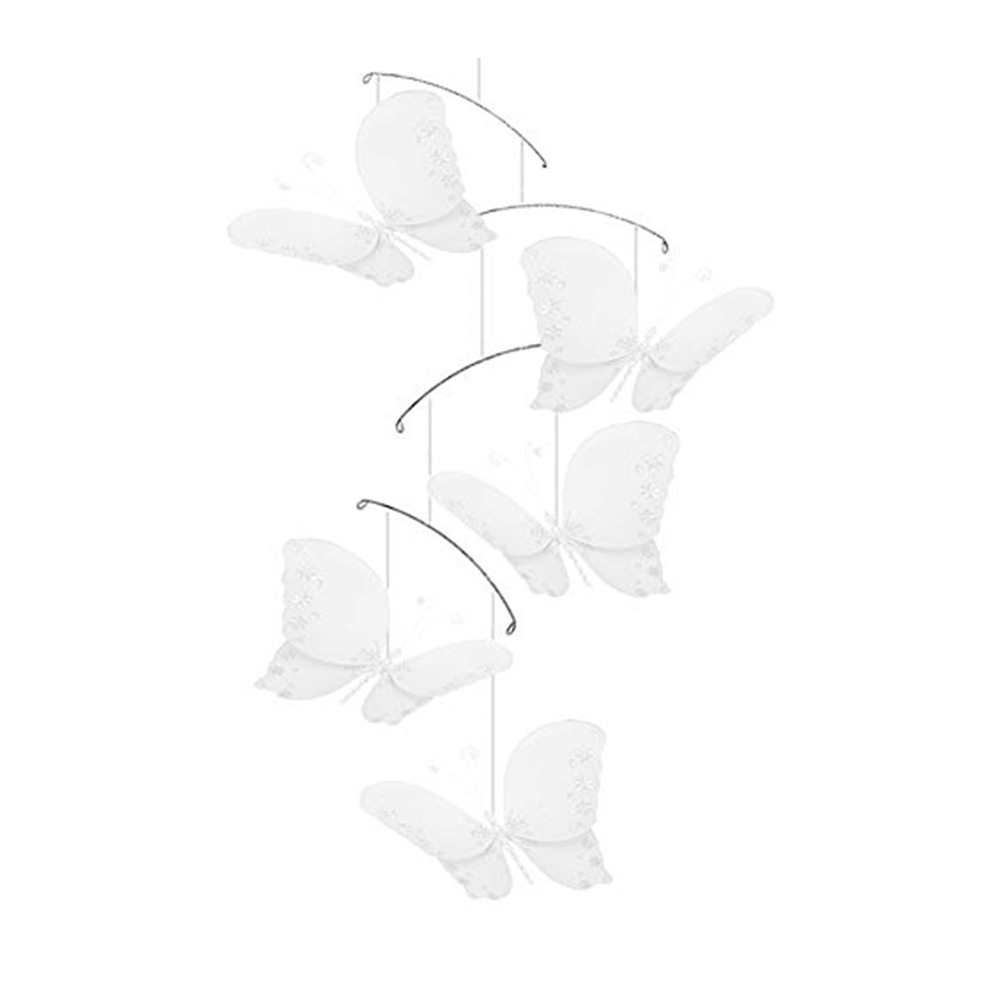 Bugs-n-Blooms Butterfly Mobile White Twinkle Nylon Decorations