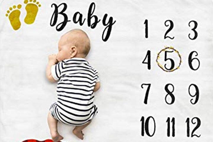 Cimkiz Baby Monthly Milestone Blanket1