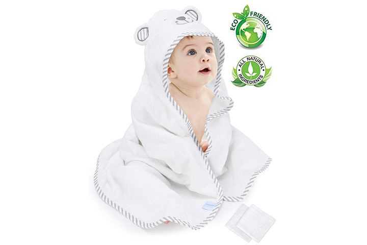 Eccomum Baby Hooded Towel Organic Bamboo Baby Bath Towels