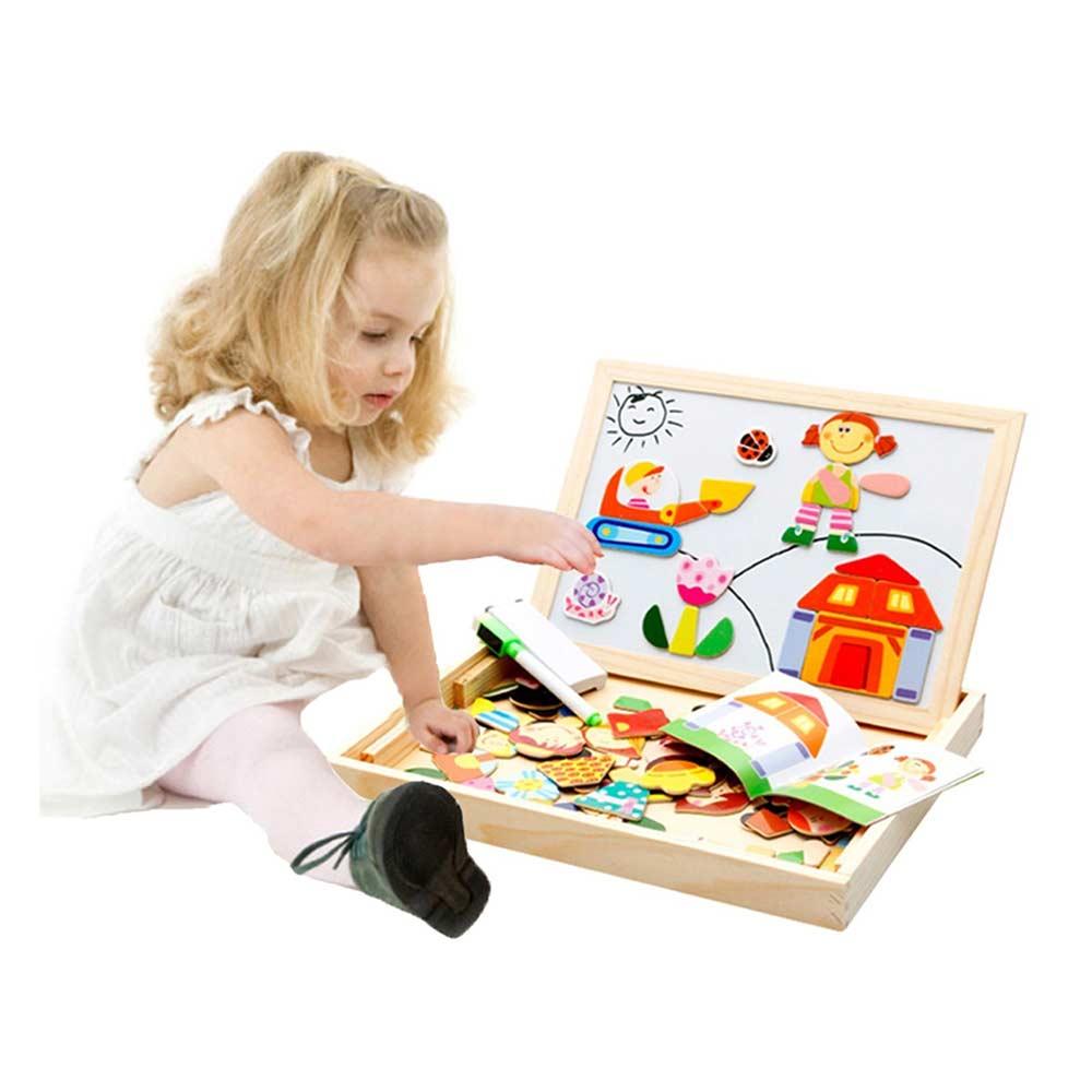 Emob 100 Pieces Wooden Kids Magnetic Board