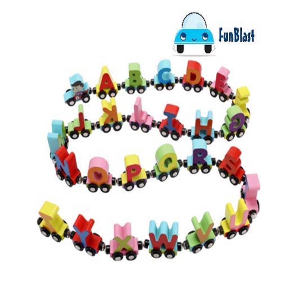 FunBlast Wooden Magnetic Alphabet Colorful Train