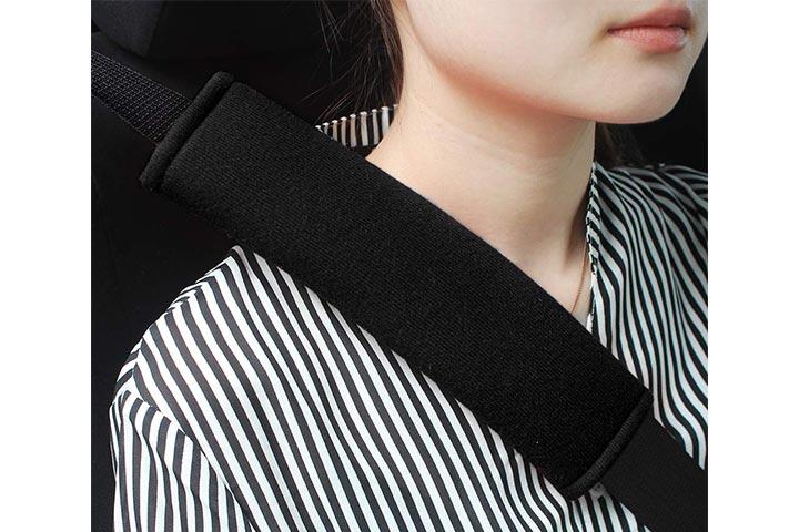 GAMPRO 2 Black Soft Car Safety Seat Belt StrapShoulder Pad For Adults And Children