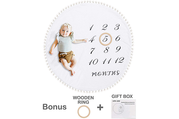 HAN-MM Baby Monthly Milestone Blanket with Wooden Circle Ring
