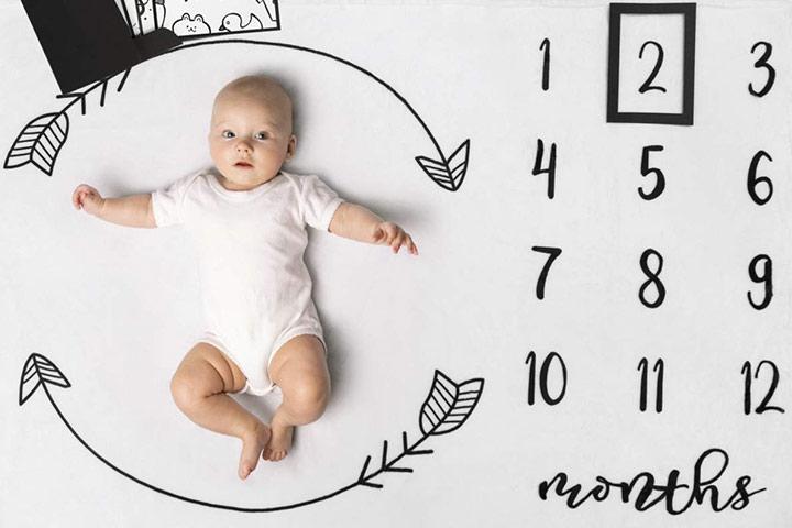 Henry Hunter Baby Monthly Milestone Blanket with Frame & Milestone Cards