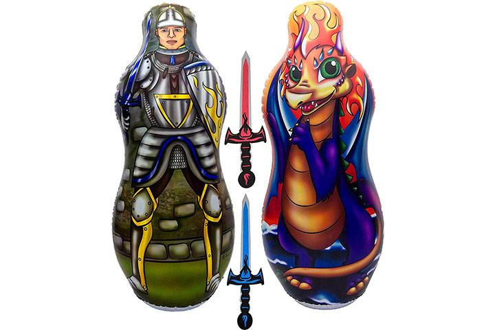 Inflatable punching bag and foam sword set