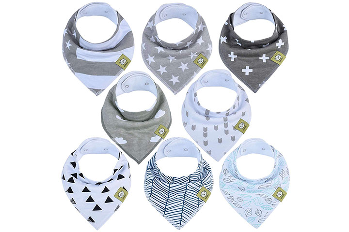 Stain and Odor Resistant 4 Pack Baby Bibs Unisex Waterproof Bib Washable Feeding Bibs Weaning Bibs Absorbent Drooling Bibs for Boys Girls Toddle Infant 6-24 Months