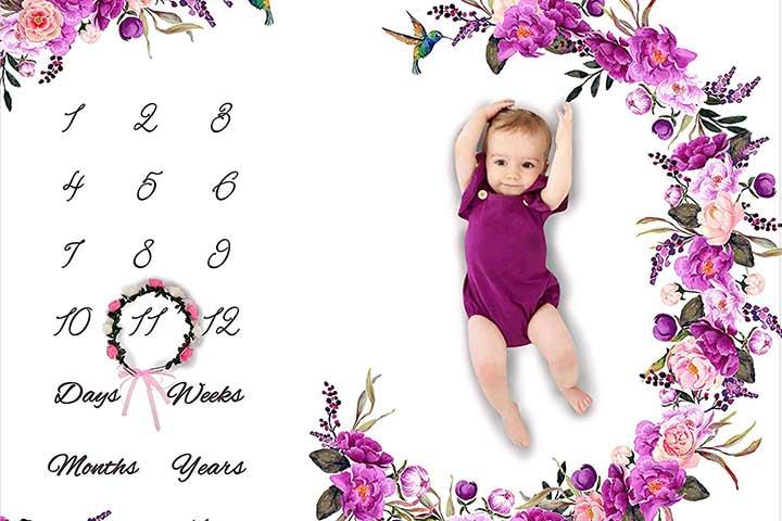 Large Floral Plush Fleece Backdrop Memory Blanket for Newborns
