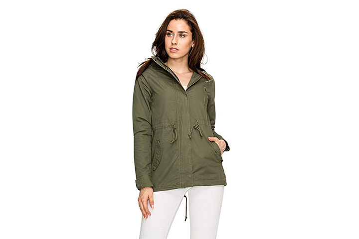Lock and Love LL Women's Casual Military Safari Anorak Jacket with Hoodie