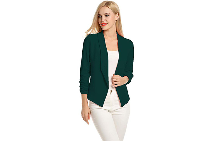 POGTMM Women 34 Sleeve Blazer Open Front Cardigan Jacket