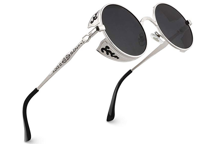 Retro Steampunk Style Inspired Round Metal Circle Polarized Sunglasses