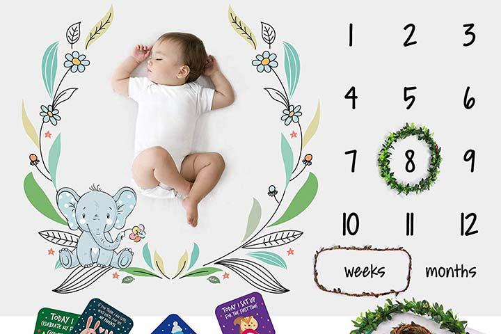 Soft Fluffy Unisex Baby Monthly Milestone Blanket