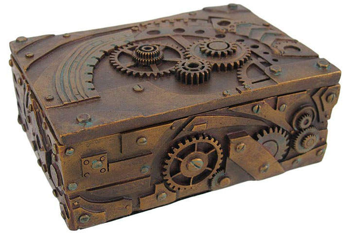 Steampunk Mechanical Inspired JewelryTrinket Box Figurine