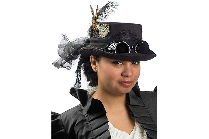 Steampunk Top Hat with Removable Goggles