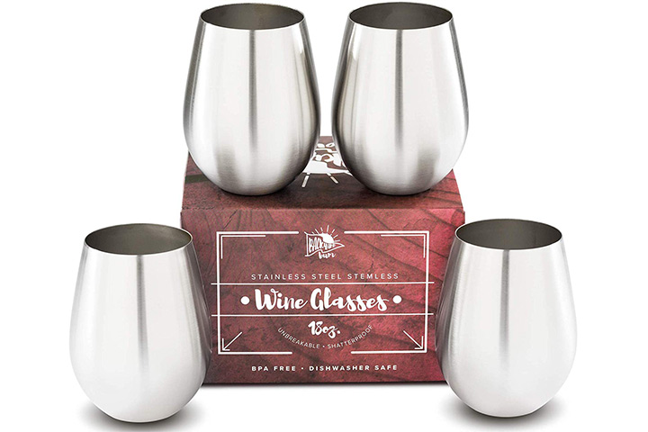 Stemless Stainless Steel Wine Glasses Set