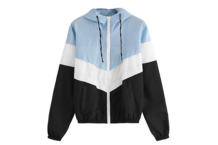 SweatyRocks Color Block Drawstring Hooded Windbreaker Jacket
