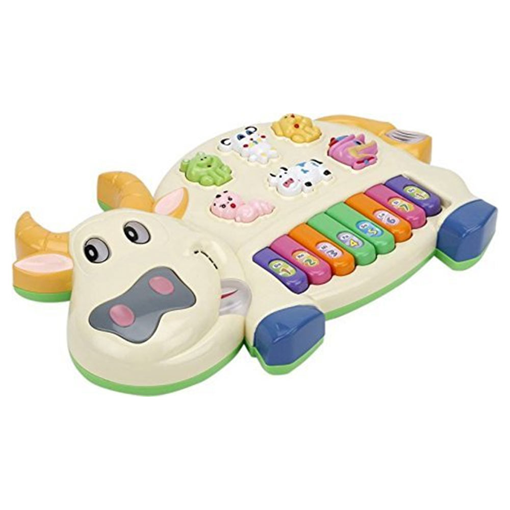 Toyshine Cow Musical Piano with 3 Modes Animal Sounds