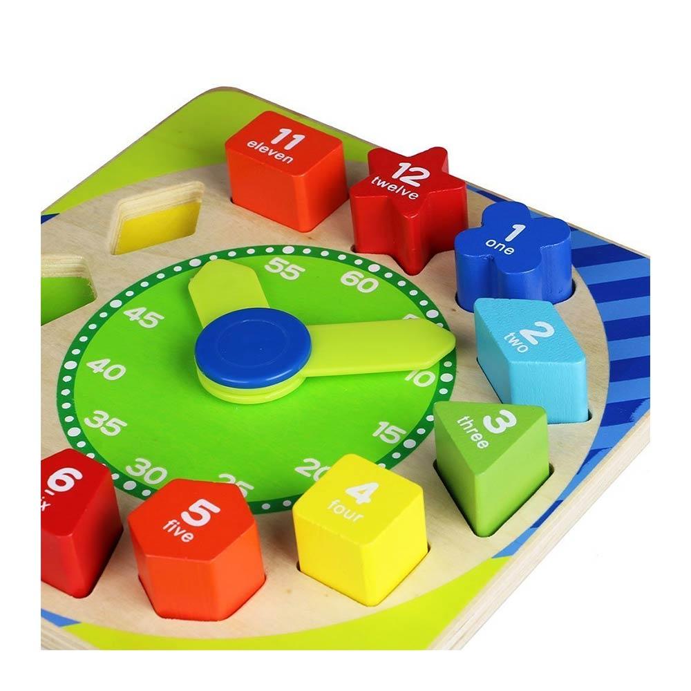 Toyshine Wooden Shape Sorting Blocks Teaching Clock