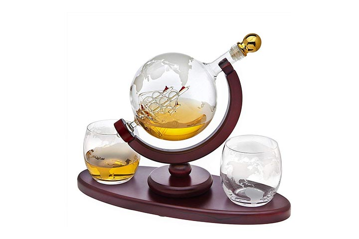 Whiskey Decanter Globe Set with 2 Etched Globe Whiskey Glasses