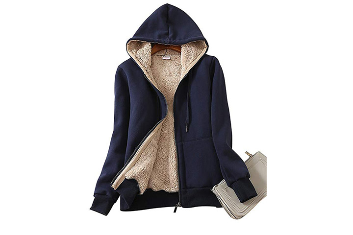 Yeokou Women's Casual Sherpa Lined Zip Up Hooded Sweatshirt Jacket