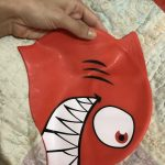 Yellowbee Shark Print Swimming Cap-Shark print swimming cap-By dharanirajesh16