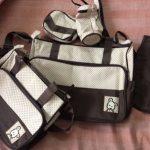 Diaper Bag Set Dot Print Brown-Diaper bag set-By dharanirajesh16