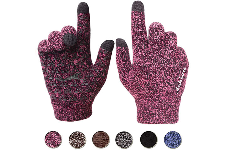 Achiou Winter Knit Gloves With Thermal Soft Lining Elastic Cuff