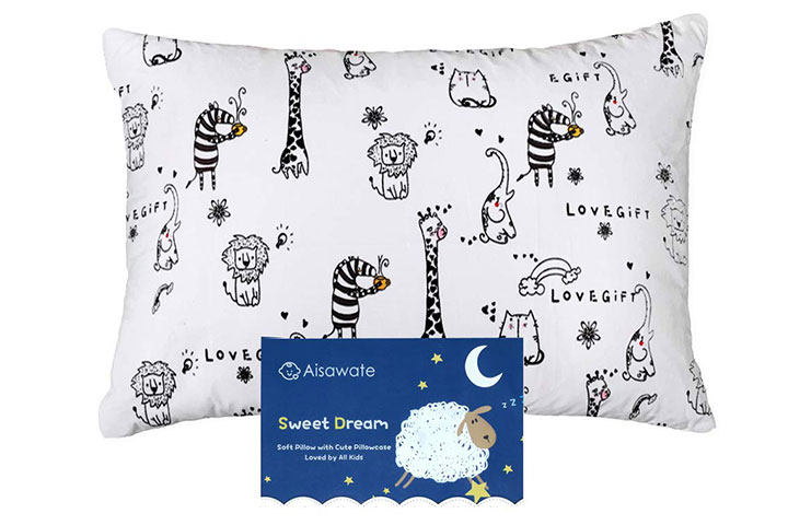 Aisawate Soft Organic Cotton Kids Pillow with Pillowcase