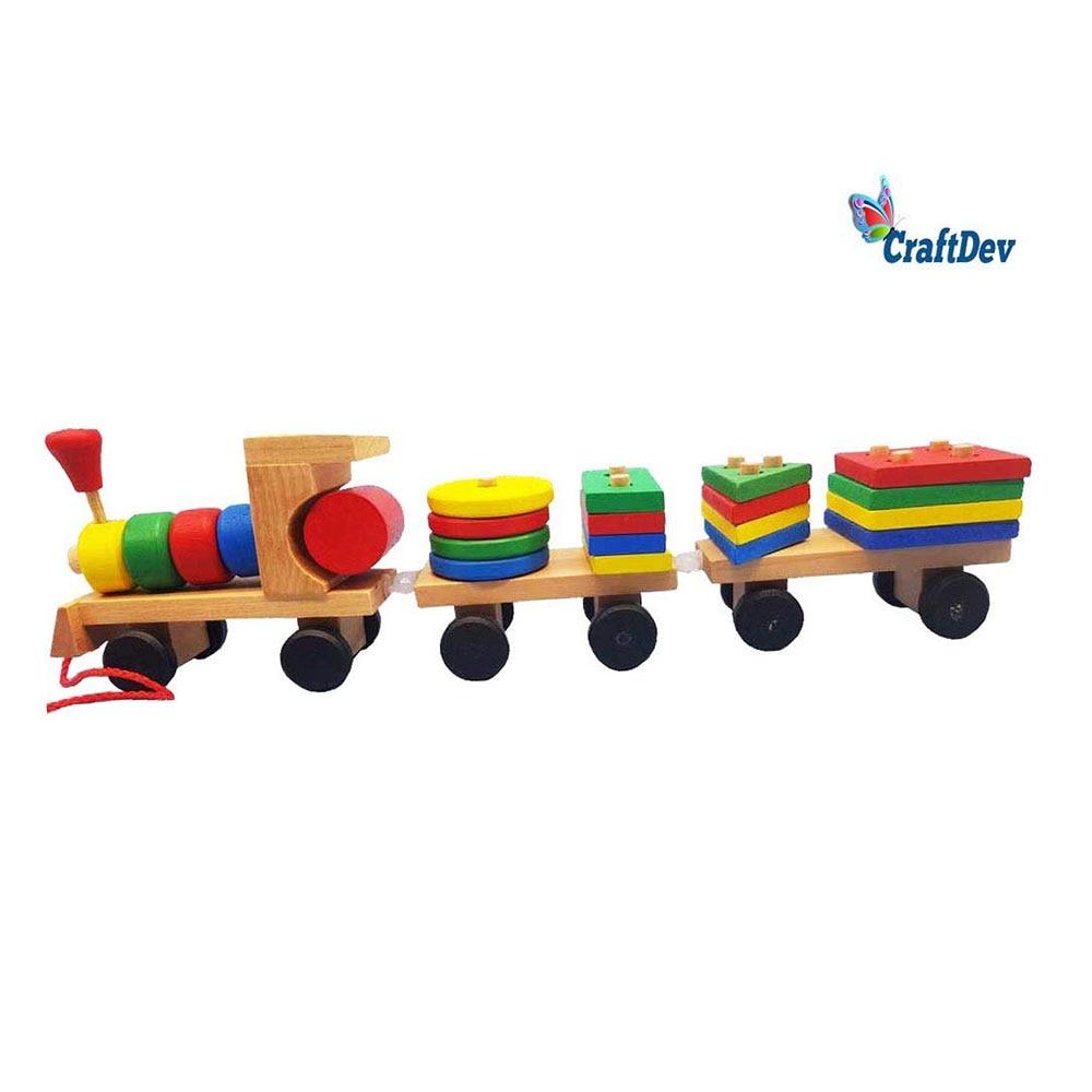CraftDev Wooden Train Puzzles Blocks