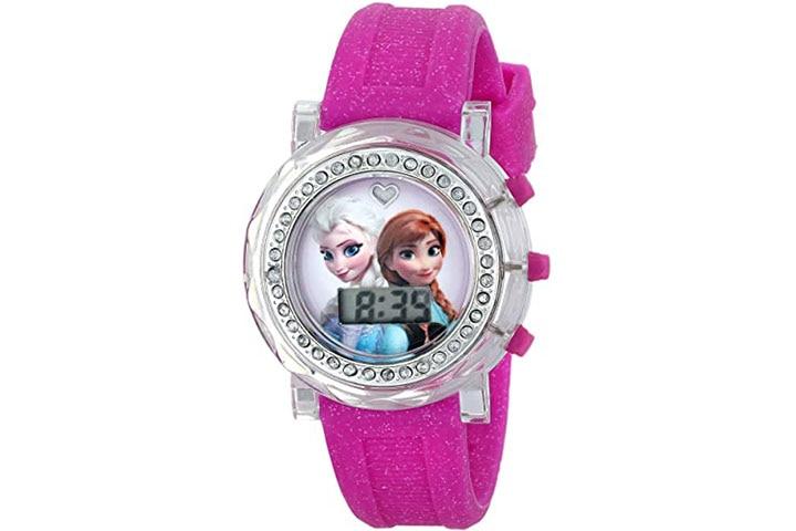 Disney Kids Frozen Anna and Elsa Flashing Dial Watch