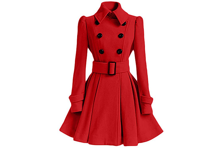 Hengshikeji Women's Swing Pea Coat Dress