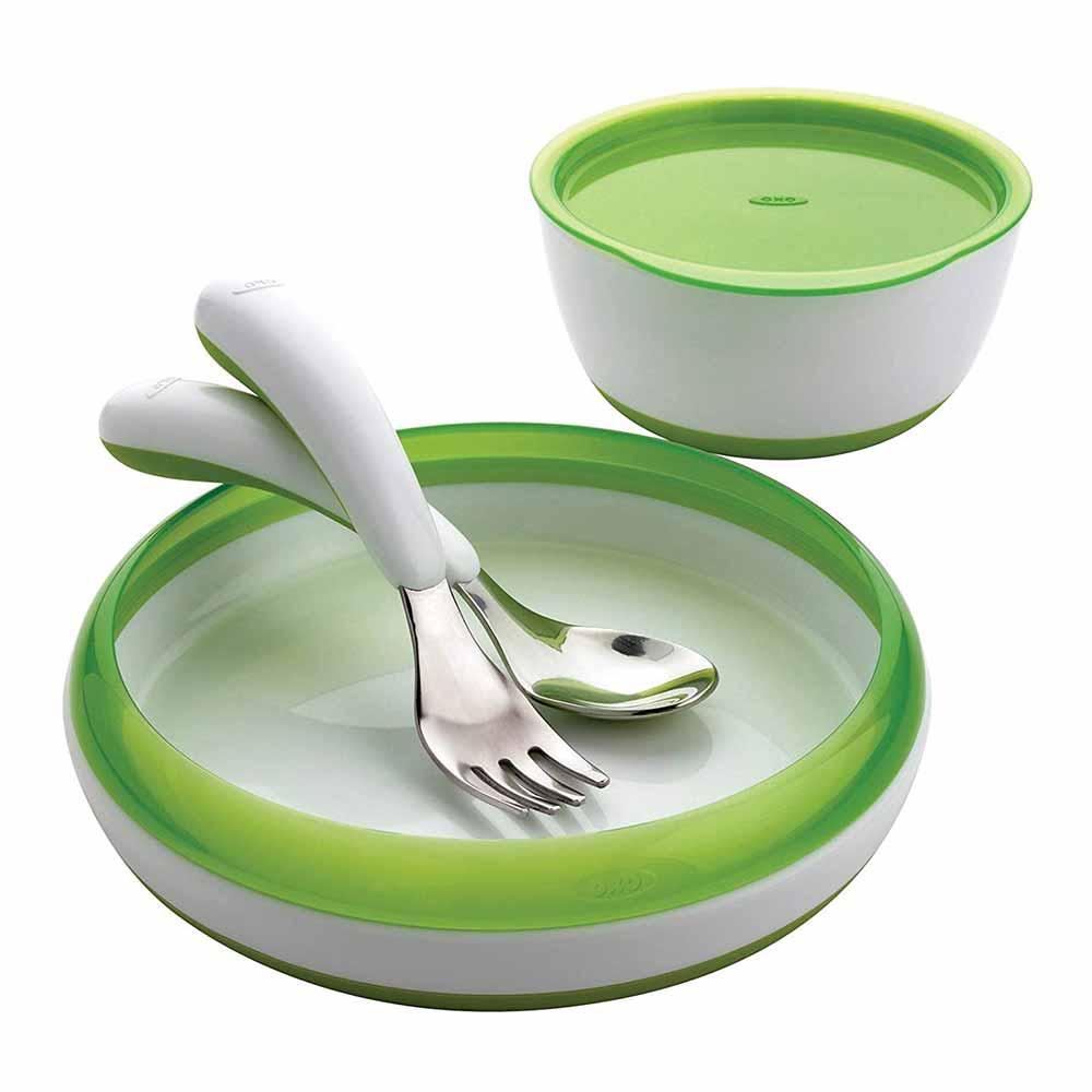 OXO Tot 4-Piece Feeding Set green
