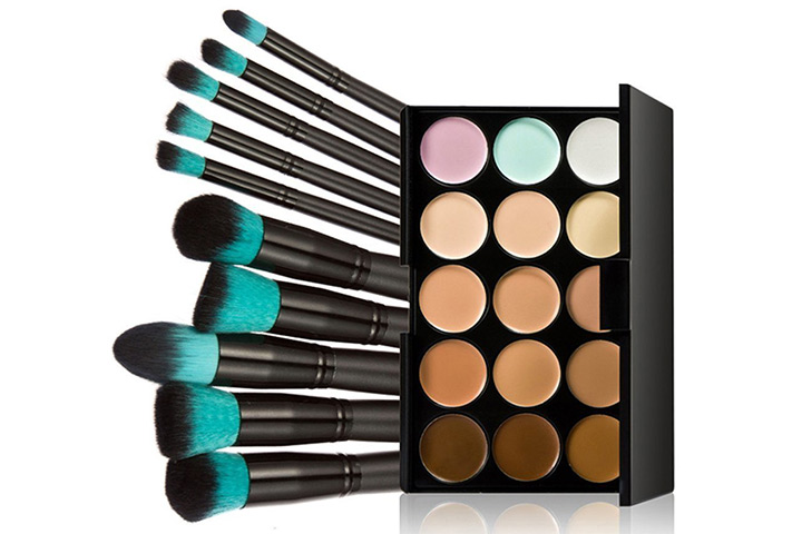 Tinksky 10 Makeup Brushes + 15 Colors Concealer, Highlighting and Contouring Kit