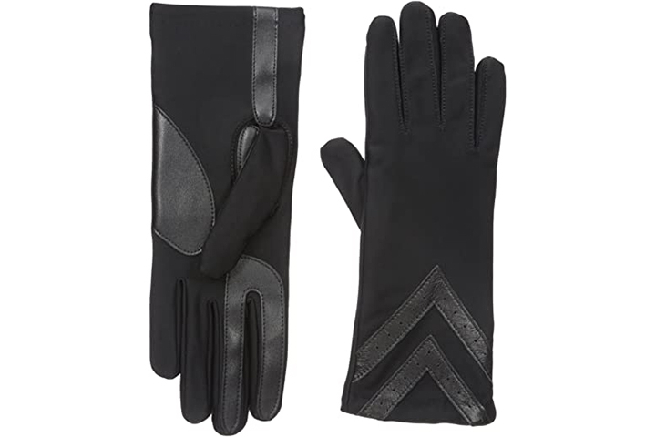 isotoner Women's Spandex Cold Weather Gloves With Warm Fleece Lining And Chevron Details