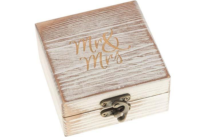 Ella Celebration Wood Ring Box for Wedding Ceremony