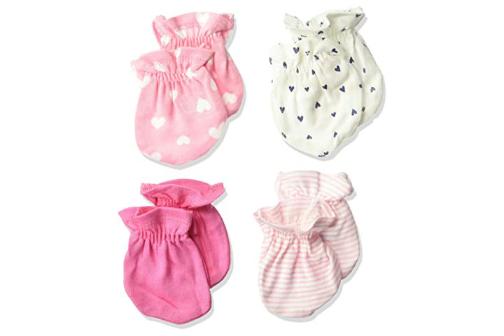 Gerber Baby Girls 4 Pair Mittens