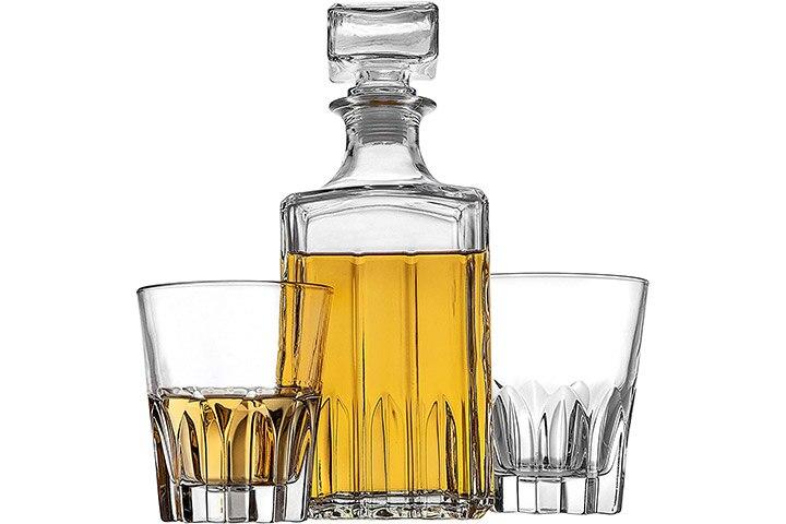 Godinger Whiskey Decanter and 2 Whiskey Glasses Bar Set