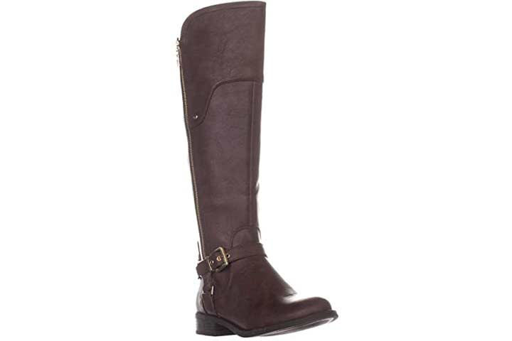 Guess Womens Harson 5 Wide Calf Faux Leather Riding Boots