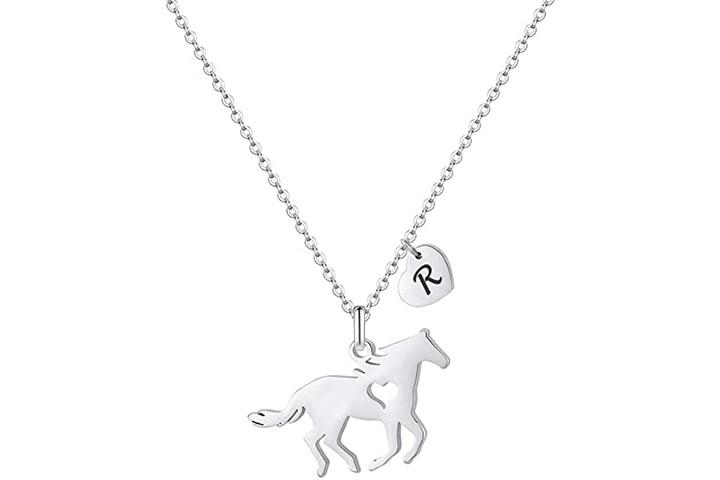 Horse Pendant Letter Necklace