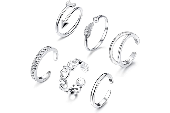 JOERICA 6-8 Pcs Toe Rings