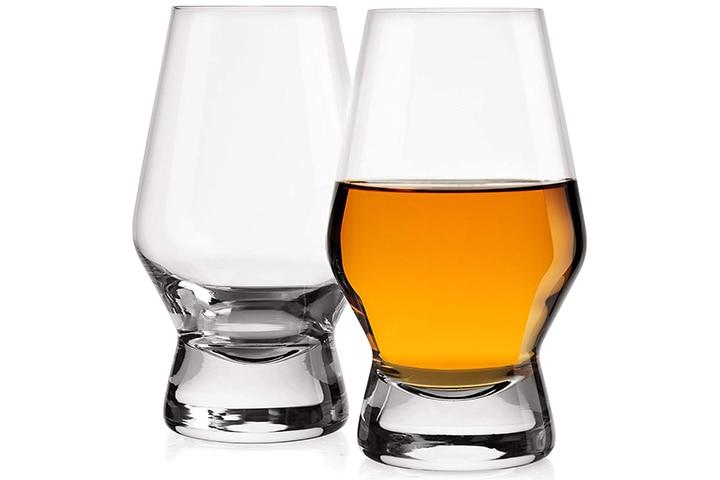 JoyJolt Halo Crystal Whiskey/Scotch Glasses Set Of 2