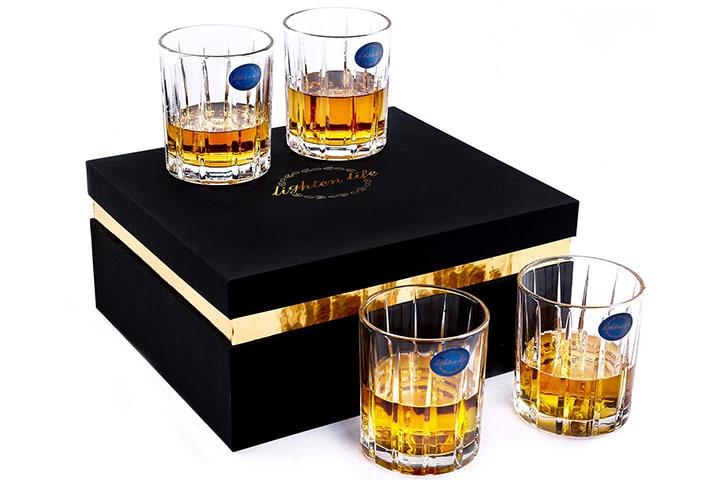 Lighten Life Whiskey Glass Set In Luxury Gift Box