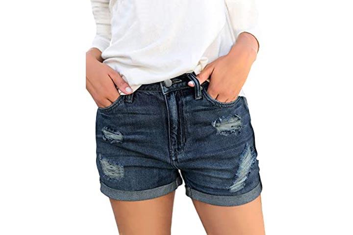 LookbookStore Mid Rise Womens Ripped Denim Shorts