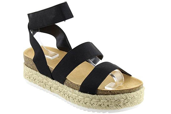 Nature Breeze FQ83 Womens Elastic Strappy Lug Sole Platform Sandals