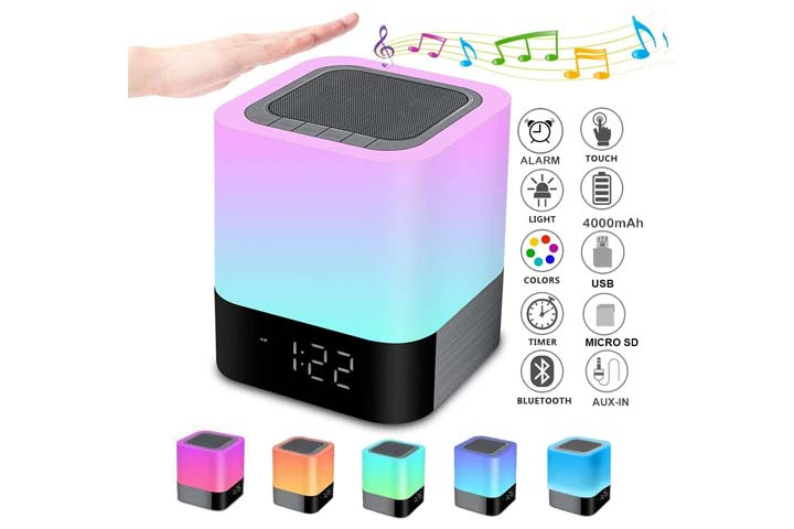 Night Lights Bluetooth Speaker, Alarm Clock Bluetooth Speaker