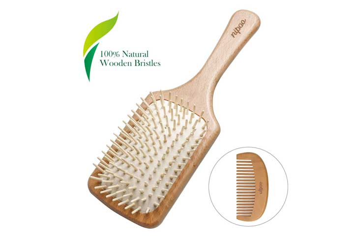 Nipoo Natural Wooden Paddle Detangling Hairbrush