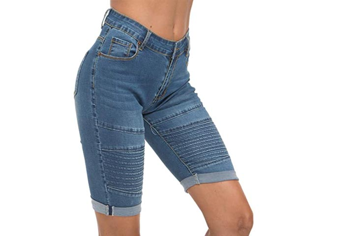 OLRAIN Womens High Waist Washed Distressed Short Jeans