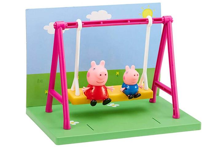 Planet Superheroes PVC Peppa Pig Swing With Peppa Pig And George
