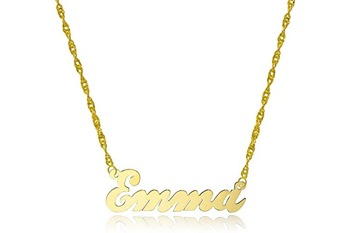 Pyramid Jewellery 10k Yellow Gold Personalized Name Necklace